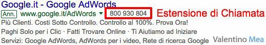 Estensioni di Chiamata Google AdWords