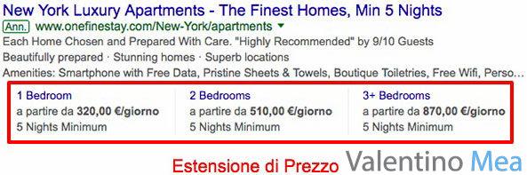 Estensioni di Prezzo Google AdWords
