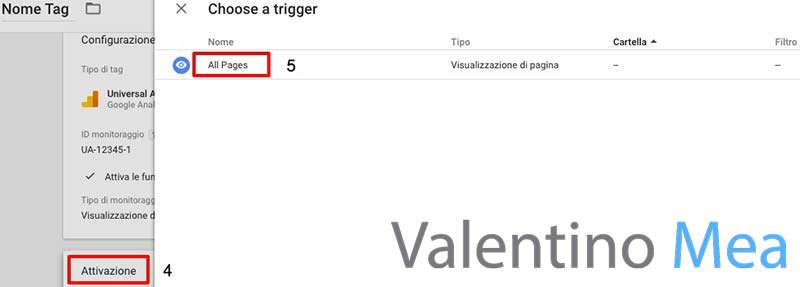 attivazione tag Google Analytics