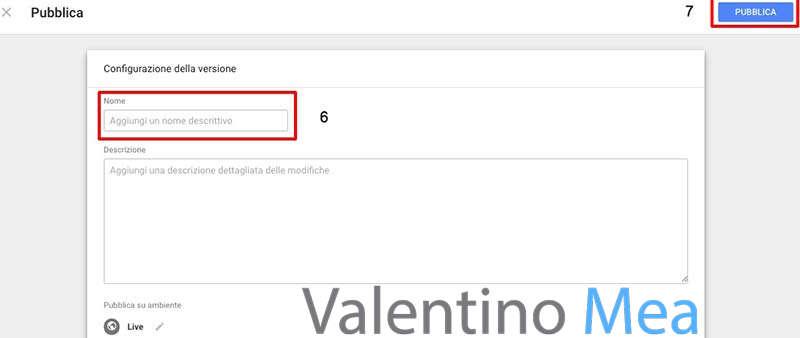 pubblicare tag Google Analytics