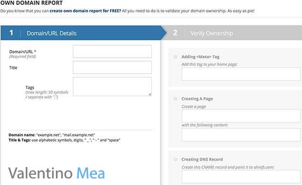 Ahrefs Own Domain Report Gratuito