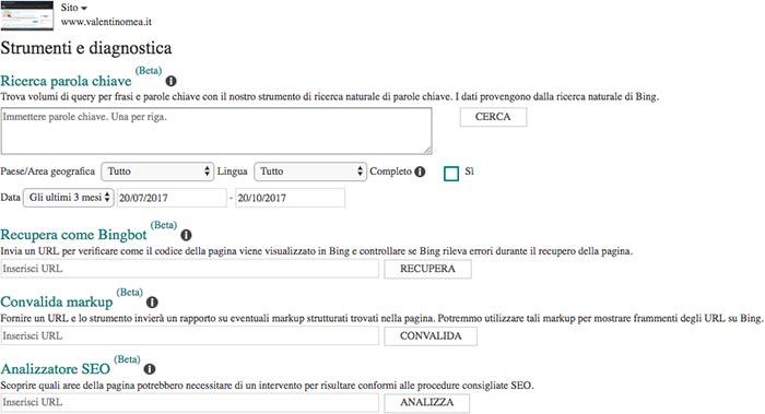 Strumenti e Diagnostica Bing Webmaster Tools
