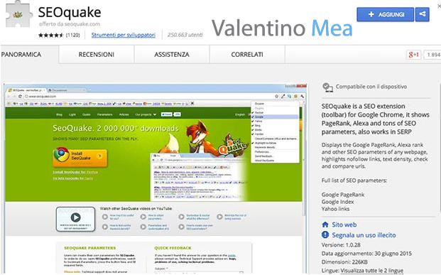 estensione SEOquake Google Chrome