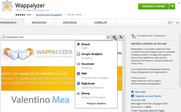 estensione Wappalyzer Google Chrome