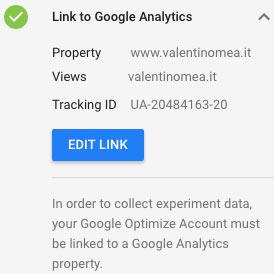 collegare contenitore Optimize con Proprietà Google Analytics