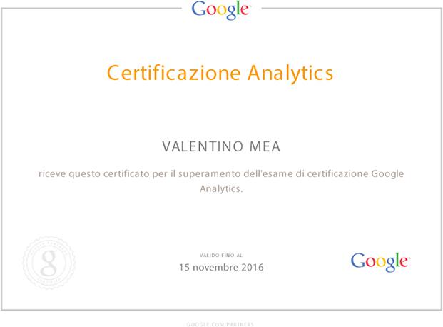 Certificazione Google Analytics di Valentino Mea