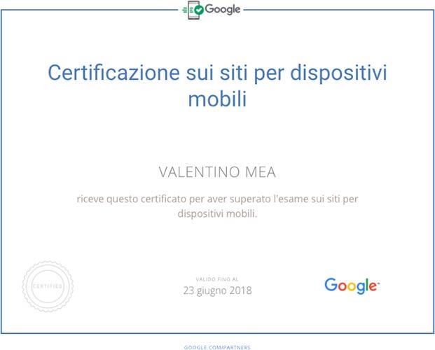 Certificazione Siti per dispositivi mobili Valentino Mea