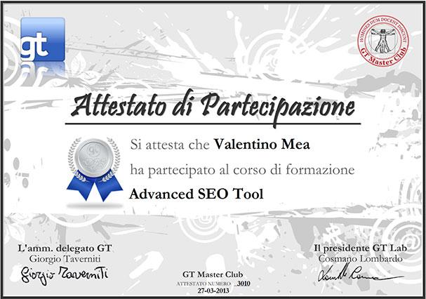 Certificazione Advanced SEO Tools di Valentino Mea