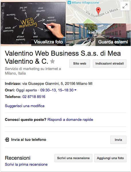 esempio Google Knowledge Graph