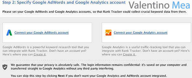 Collegare account AdWords e Analytics con Rank Tracker