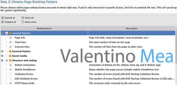 selezione fattori di ranking WebSite Auditor