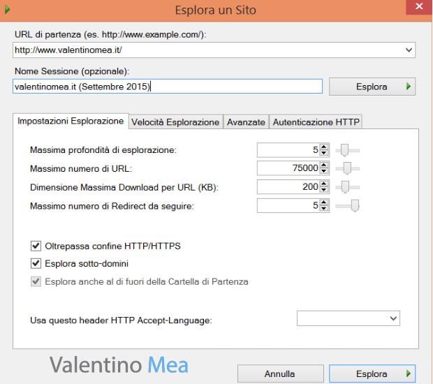 impostazioni di Visual SEO Studio